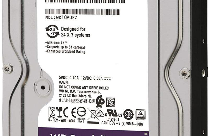 WD Purple 1TB Surveillance Hard Drive – 5400 RPM Class, SATA 6 Gb/s, 64 MB Cache, 3.5″